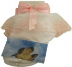 Girls Socks w/ Organza Trimming and Bow 022103E-White/ Pink
